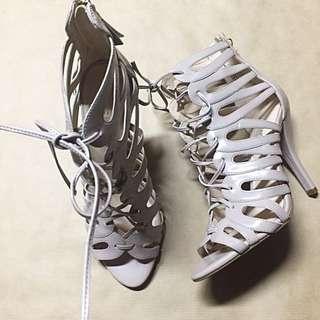 Gladiator Strappy Nude Nine West High Heels