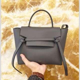 Celine Grey Grained Calfskin Micro Belt Bag
