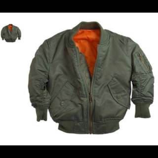 Alpha Industries MA-1 保暖防風防潑水飛行外套夾克 軍綠x橘 (可以兩面穿大童 女 )