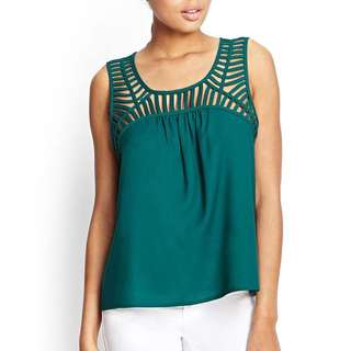 Jade Green Caged Top