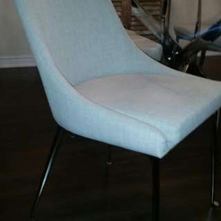 2 Grey Cloth Dining Chairs. NEW UNASSEMBLED IN BOX! Delivery can Be Arranged
