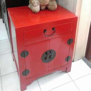 Red Side Table With Drawers
