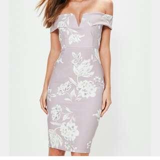 BNWT Missguided Grey Floral Bardot Dress