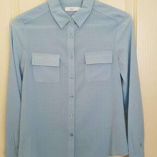 Blue Collared Office Top