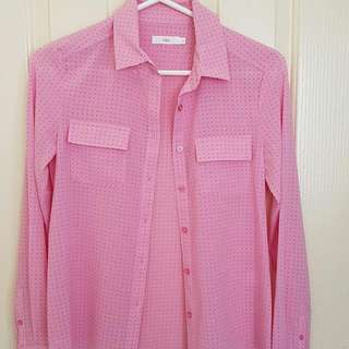 Pink Collared Office Top