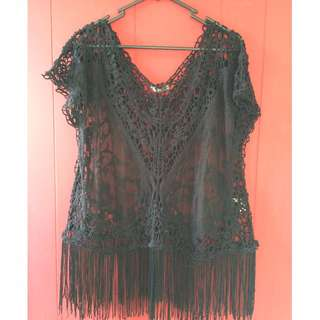 Black crochet beach top