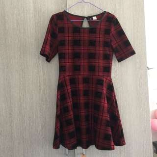 H&M (DIVIDED) Rust And Black Check Skater Dress