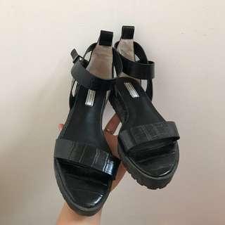Tony Bianco black leather sandals