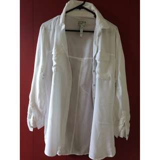 white button up sheer long sleeve