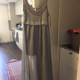 Khaki Maxi Dress Size 10