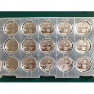 Year 2017, .999 30g Silver Chinese Panda coin (15pcs/Tray)