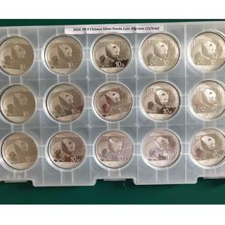 Year 2016, .999 30g Silver Chinese Panda coin (15pcs/Tray)
