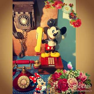 Vintage Mickey Mouse Telephone by America Telecommunication Corporation, approved by TAS for Local Use. Selling Cheap  as Non-Working Units for Display at Homes/ Shops or Photo-Shoot/ Movie-Prop. $45 only, SMS 96337309 for Fast Deal!