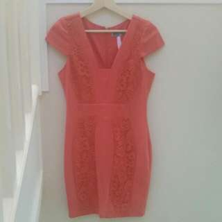 Lipsy Coral Dress With Lace Panelling