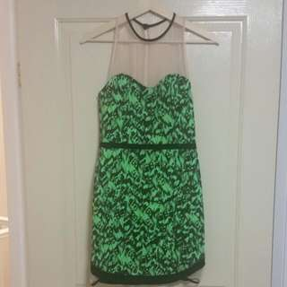 Sheike Printed Dress With Mesh Panelling