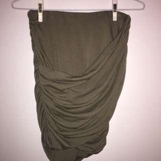Showpo Olive Green Wrap Miniskirt