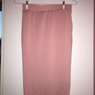 Showpo Dusty Pink Bodycon Midi Skirt