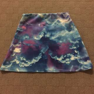 Missguided Clouds A-line Skirt