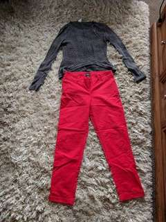 Red Work pants and Grey Jumper