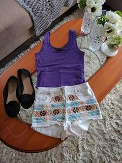 Purple singlet and Boho Denim Shorts