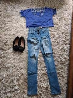 Navy blue crop and Denim skinny Jeans