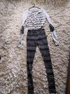 Cropped cardigan and leggings