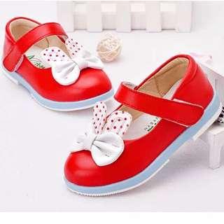 預購7折 2-4歲 真皮牛皮女寶寶兔耳朵防滑軟底包頭公主鞋單鞋皮鞋