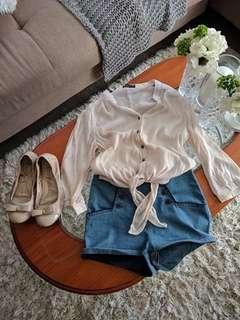 Loose fitting shear blouse and denim shorts