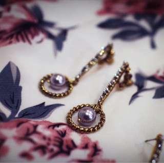 Tentez Bijoiterie古風首飾專賣店 獨家手作設計 幾何簡約華麗款長型搖曳薰衣草色珍珠耳環
