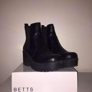 Betts Black Ankle Chelsea Platform Boots