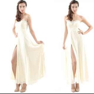 Her Velvet Vase Hvv Halston Embellishment Maxi Dress In Cream