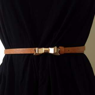 Belt With Gold Bow Buckle