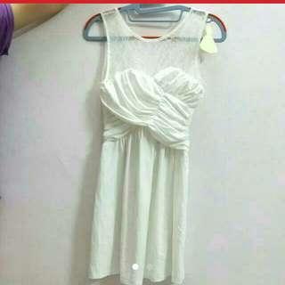Pearlavish Intoxiquette Heartshaped Ruched dress In White
