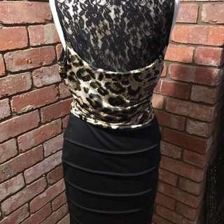 Caroline Morgan Size 14 Leopard And Black Dress