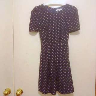 Glamorous Women's Polka Dot Navy Vintage Mini Dress