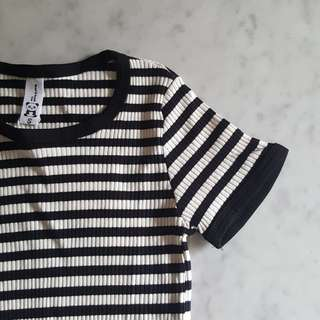 BN Black White Striped Fitting Knitted Top T-shirt