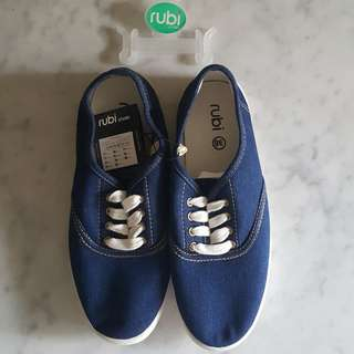 (RTP 19.95) BN Rubi Dark Denim Blue Canvas Slip-on Shoes