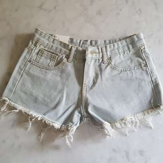 BN Light Blue Ripped Frayed Mid-waist Denim Shorts