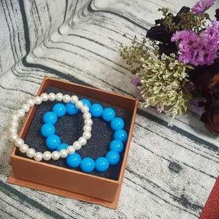 寶藍珠珠 珍珠手鍊 (一組)