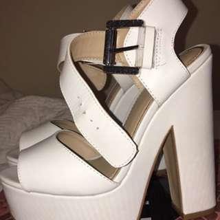 ZU Size 6 White Heels