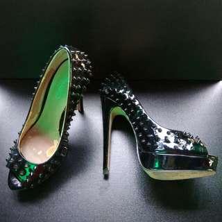 Aldo Spiked Black Peep Toe Heels