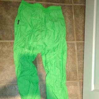 Vintage Neon Green Rain Pants
