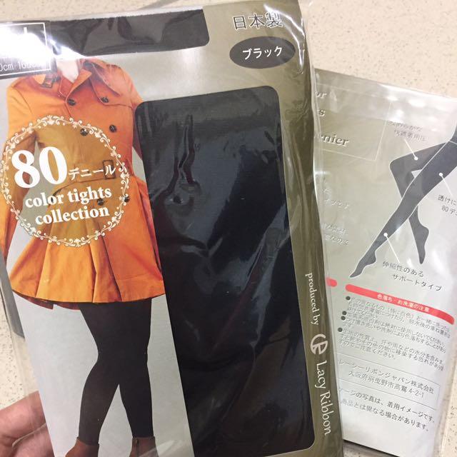 全新日本製Lacy Ribbon 80丹黑色高腰彈性褲襪通勤上班辦公室族群