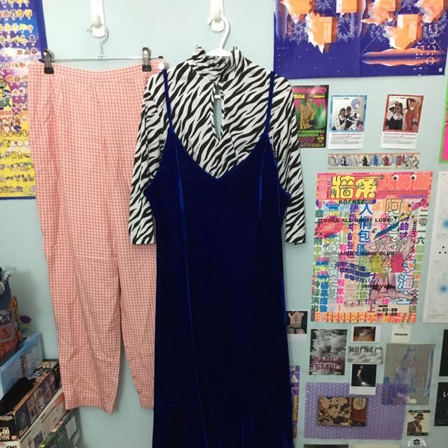 藍色絨布背心魚尾波浪洋裝