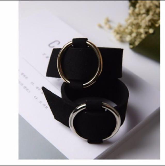 金屬絨皮革手環