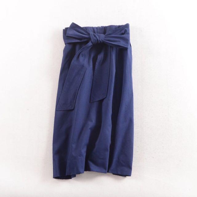 深藍色高腰綁帶半身裙