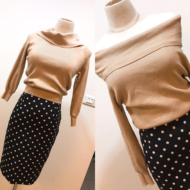 兩穿式針織裸膚上衣、正韓點點後開衩包裙
