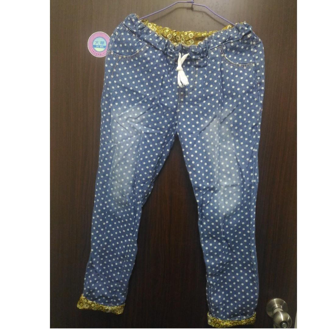 【可換物】點點鬆緊款牛仔褲#轉轉來交換 #三百元牛仔