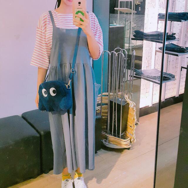 日系 藍灰色 連身背心裙