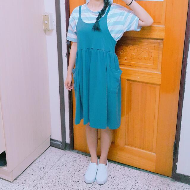 日系純棉 藍灰色 背心裙